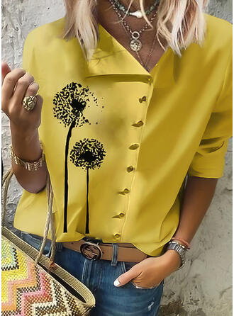 Print Dandelion V-Neck Long Sleeves Button Up Casual Blouses