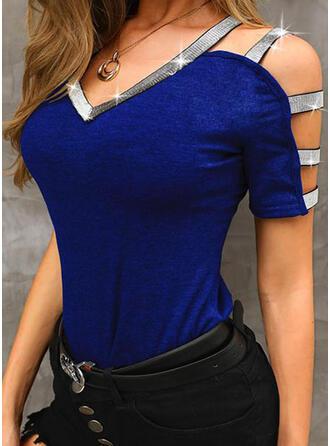 Solid Sequins Cold Shoulder Short Sleeves T-shirts
