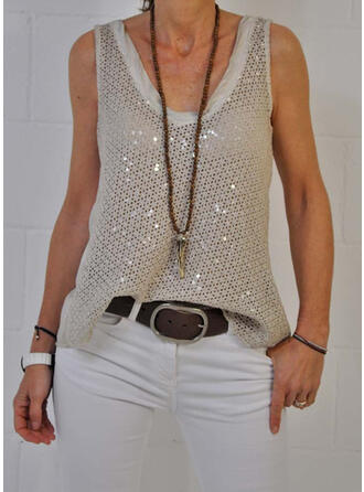 Solid Sequins V-Neck Casual Vest/Sleeveless