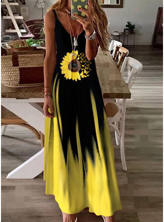 Animal Print/Sunflower Print/Gradient Sleeveless A-line Slip/Skater Casual/Vacation Maxi Dresses