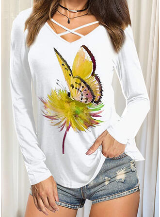Butterfly V-Neck Long Sleeves T-shirts