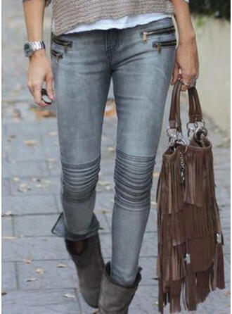 Pockets Shirred Plus Size Long Sexy Skinny Pants Denim & Jeans