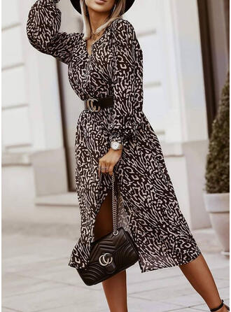 Print Long Sleeves A-line Knee Length Casual Skater Dresses