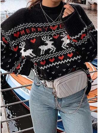 Animal Print Crew Neck Casual Christmas Sweaters