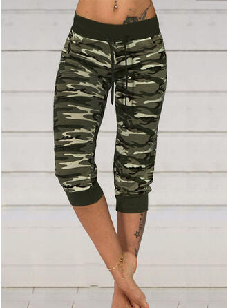 Plus Size Camouflage Drawstring Capris Casual Sexy Sporty Pants