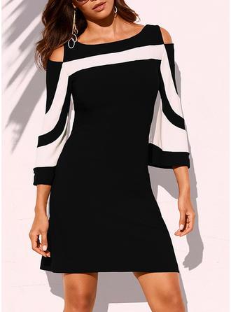 Color Block 3/4 Sleeves Sheath Above Knee Elegant Dresses