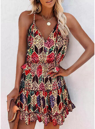 Geometric Print/Leopard Sleeveless A-line Above Knee Casual Slip/Skater Dresses