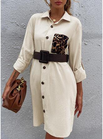 Leopard Long Sleeves Shift Knee Length Casual Dresses