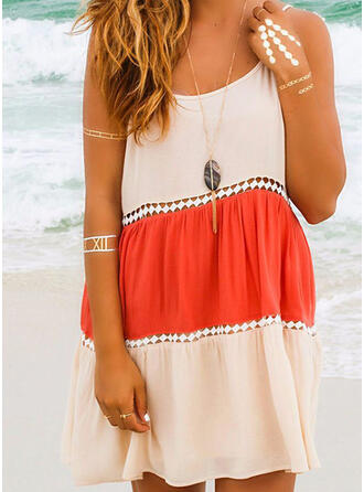 Color Block/Hollow-out Sleeveless Shift Above Knee Casual/Vacation Slip Dresses