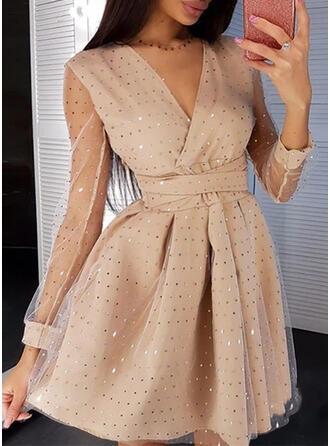Sequins/Solid Long Sleeves A-line Above Knee Little Black/Party/Elegant Skater Dresses