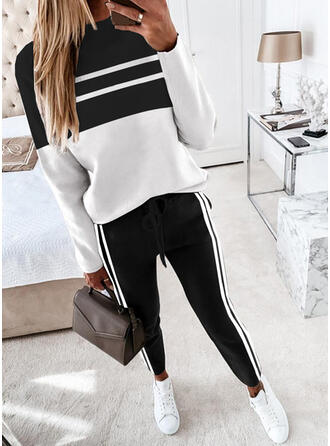 Striped Color Block Casual Sweatshirts & Two-Piece Outfits Set