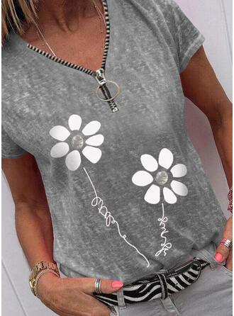 Print Floral Figure V-Neck Short Sleeves Casual Blouses