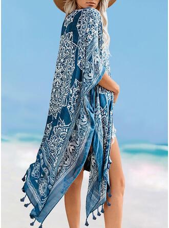 Tassels Geometric V-Neck Casual Boho Cover-ups Swimsuits