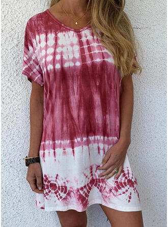 Print/Tie Dye Short Sleeves Shift Above Knee Casual/Vacation T-shirt Dresses