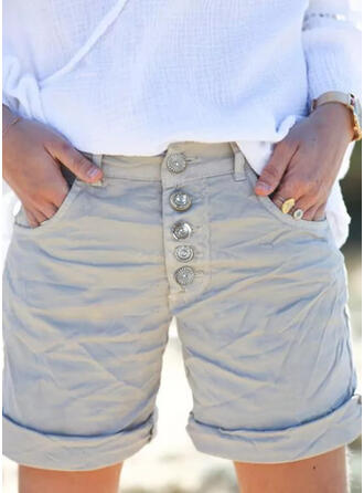 Solid Above Knee Casual Plus Size Pocket Shirred Button Pants Shorts