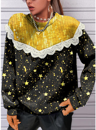 Star Lace Sequins Round Neck Long Sleeves Sweatshirt
