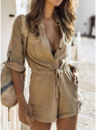 Solid Shirt collar 3/4 Sleeves Casual Vacation Romper