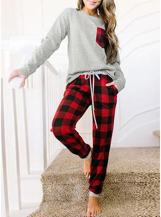 Polyester Round Neck Long Sleeves Christmas Drawstring Pyjama Set
