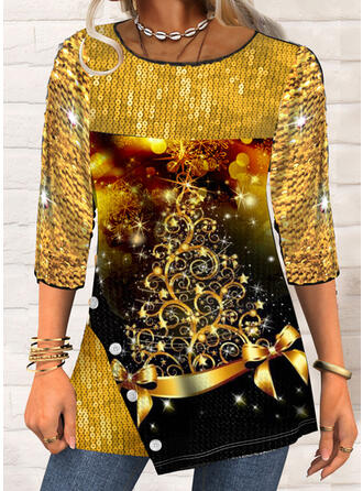Christmas Star Mixed printing Sequins Round Neck 3/4 Sleeves T-shirts