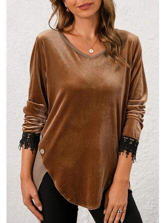 Solid Velvet V-Neck Long Sleeves T-shirts