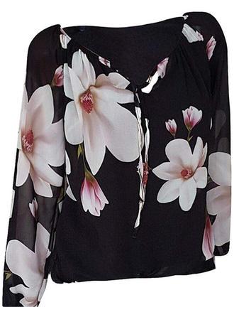 Floral V-Neck Long Sleeves Casual Elegant Blouses