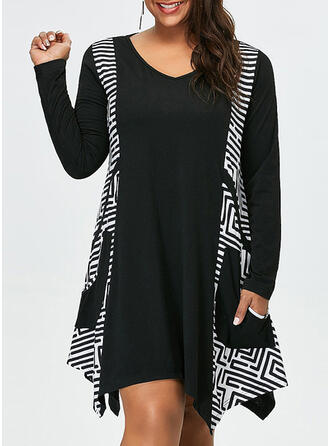 Plus Size Print Long Sleeves Shift Knee Length Casual Dress