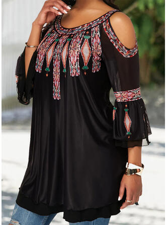 Print Cold Shoulder 3/4 Sleeves Casual Elegant Plus Size Blouses
