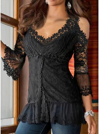 Solid Lace Cold Shoulder 3/4 Sleeves Cold Shoulder Sleeve Elegant Blouses
