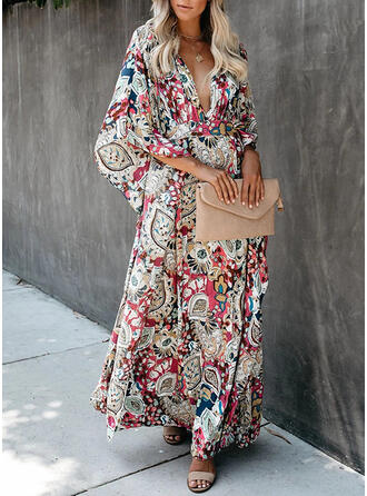 Print 3/4 Sleeves/Batwing Sleeves A-line Skater Casual/Boho/Vacation Maxi Dresses