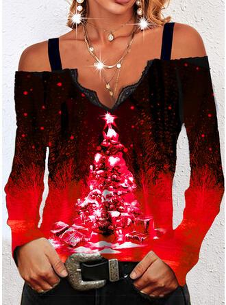 Christmas Gradient Star Mixed printing Cold Shoulder Long Sleeves T-shirts