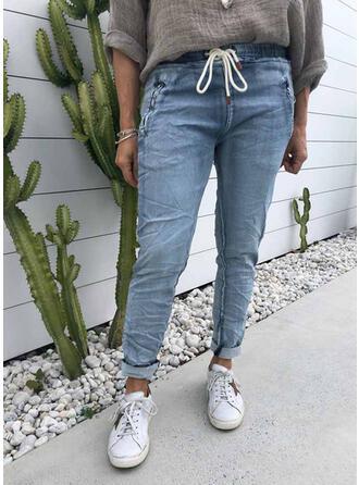Solid Denim Long Vintage Plus Size Pocket Drawstring Denim & Jeans