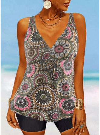 Print V-Neck Vintage Tankinis Swimsuits