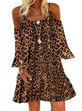 Leopard Long Sleeves/Cold Shoulder Sleeve Shift Above Knee Casual/Vacation Tunic Dresses