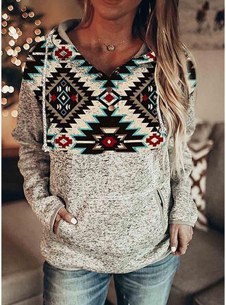 Geometric Print Long Sleeves Hoodie
