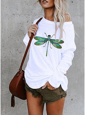 Animal Print One Shoulder Long Sleeves Sweatshirt