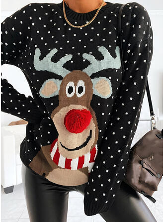 Women's Cotton Blends Reindeer Ugly Christmas Sweater