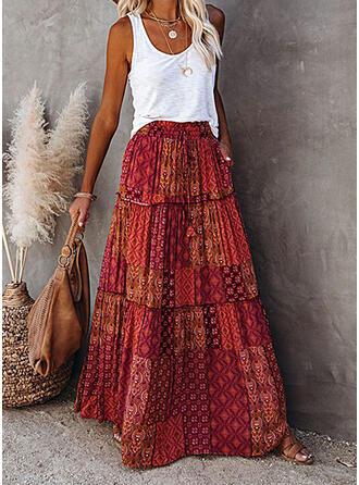Cotton Blends Print Floral Floor Length Flared Skirts