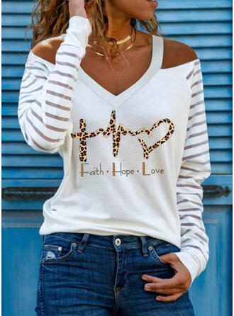Print Leopard Figure Heart Cold Shoulder Long Sleeves Casual Blouses