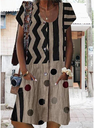 Print/PolkaDot Short Sleeves Shift Knee Length Casual Dresses