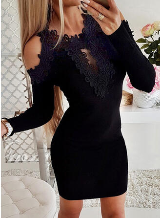 Solid Lace Cold Shoulder Casual Sweater Dress
