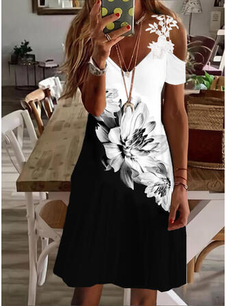 Print/Floral/Color Block Lace Short Sleeves A-line Above Knee Casual/Vacation Skater Dresses