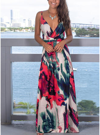Print/Floral Sleeveless A-line Slip/Skater Sexy/Party/Vacation Maxi Dresses