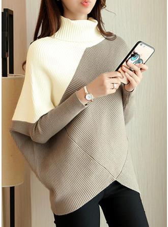Color Block Turtleneck Oversized Casual Sweater Dress