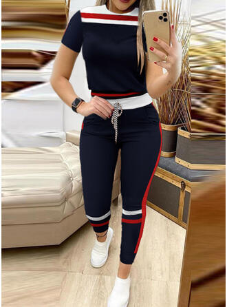 Striped Color Block Sporty Plus Size Tee & Two-Piece Outfits Set