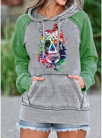 Print Color Block Halloween Long Sleeves Hoodie