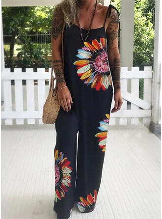 Floral Print Spaghetti Strap Sleeveless Casual Vacation Jumpsuit