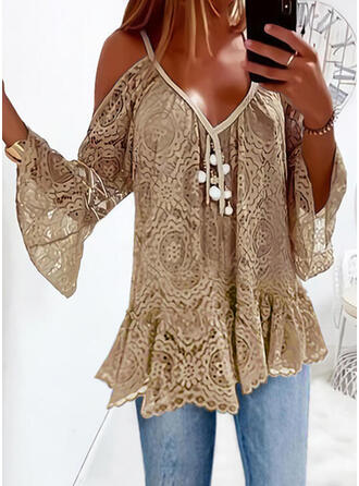 Solid Lace Cold Shoulder Flare Sleeve Long Sleeves Elegant Blouses