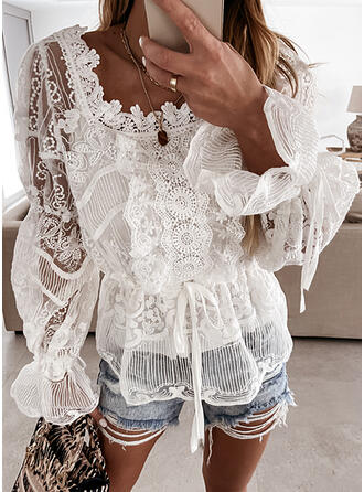 Solid Lace Square Collar Long Sleeves Flare Sleeve Elegant Blouses