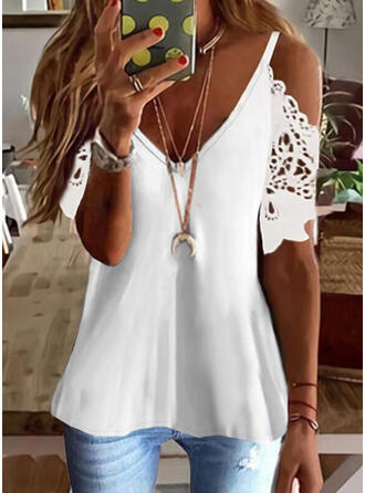 Solid Lace Cold Shoulder 1/2 Sleeves T-shirts