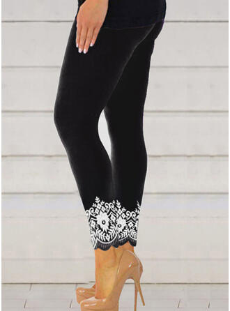 Jacquard Print Plus Size Cropped Sexy Sporty Yoga Leggings